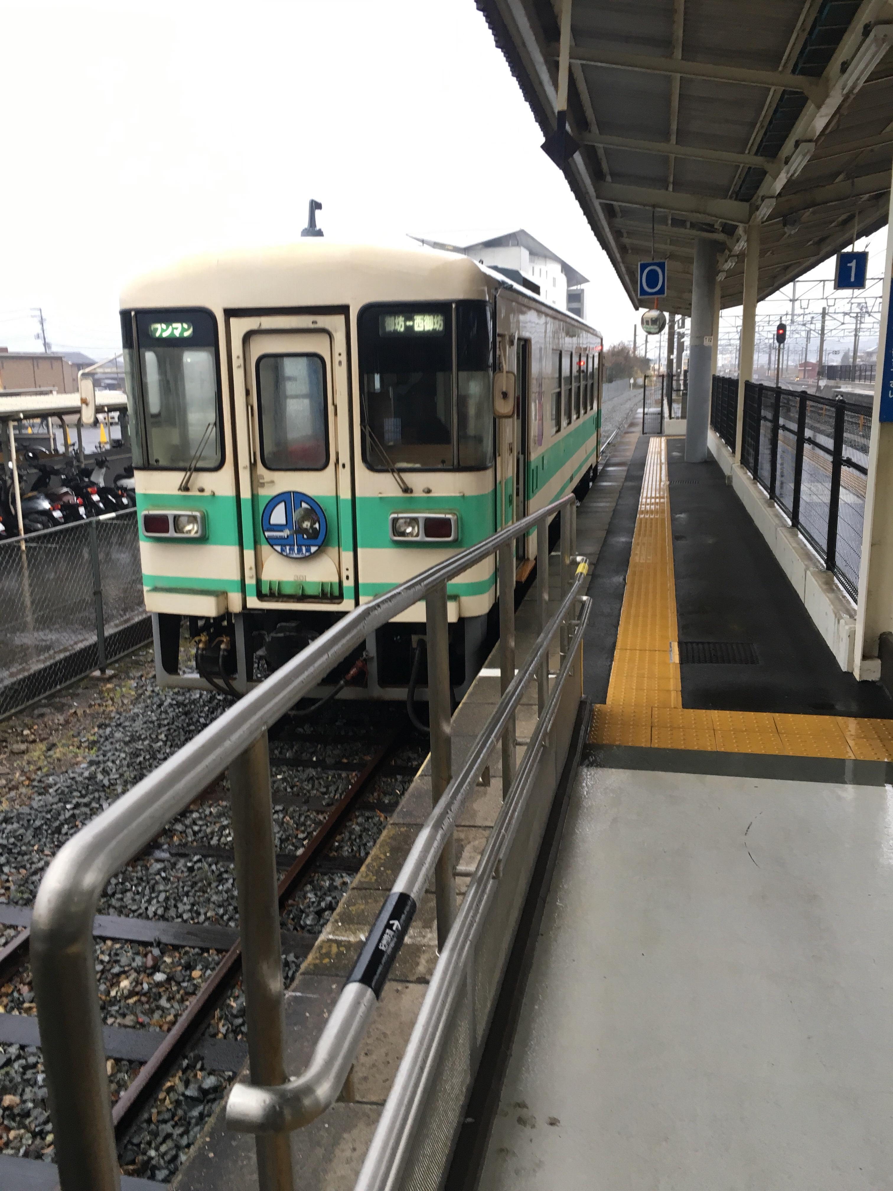 201802_紀州鉄道で御坊駅に到着